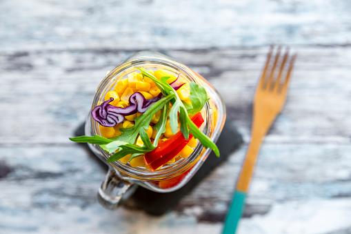 Bulgur Wheat「Glass of rainbow salad with bulgur, rocket and different vegetables」:スマホ壁紙(10)