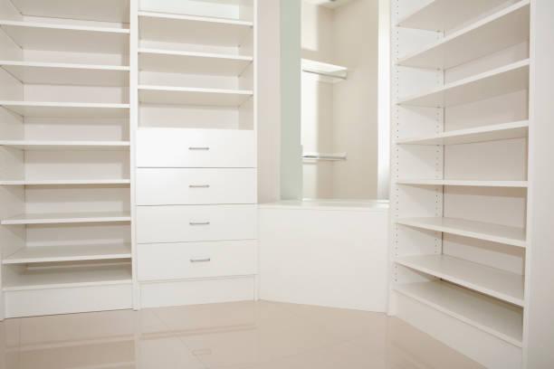 Empty shelves and drawers in modern walk-in closet:スマホ壁紙(壁紙.com)