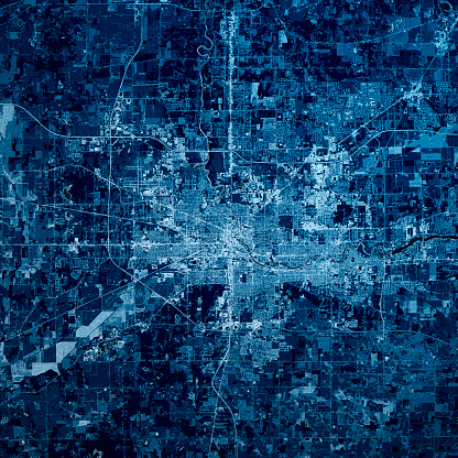 Digital Composite「South Bend Indiana 3D Render Map Blue Top View Jul 2019」:スマホ壁紙(19)