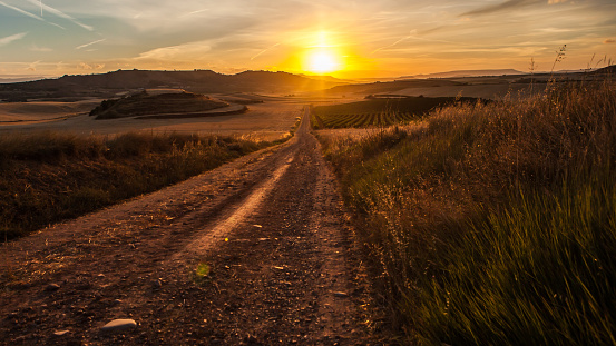 Camino De Santiago「Gravel road with a beautiful sunset, Camino de Santiago, Spain」:スマホ壁紙(5)