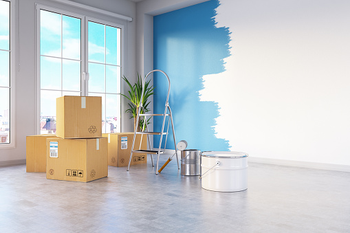 Moving Office「Moving House Concept with Cardboard Boxes and Wall Painting」:スマホ壁紙(2)