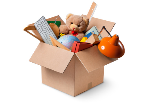 Baby animal「Moving house. Cardboard box with various objects.」:スマホ壁紙(6)