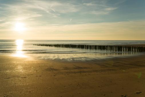 夕焼け 海「Holland, North Sea, coast, beach in the evening」:スマホ壁紙(4)