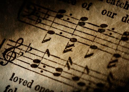 Sepia Toned「Grunge Music Notes Close-Up」:スマホ壁紙(18)