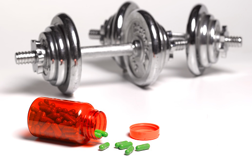 Weight Training「Dumbbell weights in gym with pills」:スマホ壁紙(1)