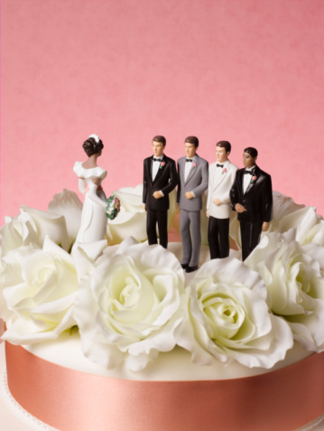 Infidelity「Bride figure on wedding cake with a choice of four grooms」:スマホ壁紙(19)
