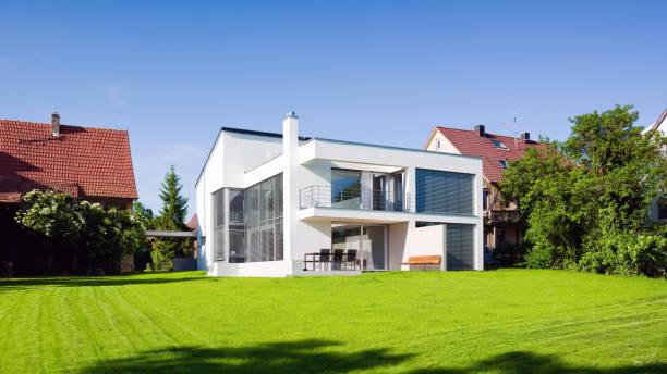 Modern Architecture Home Green On Green Summer Meadow:スマホ壁紙(壁紙.com)