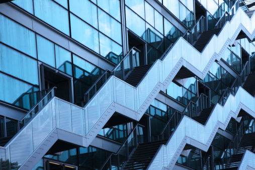 Staircase「Modern Architecture of Staircases on Building Facade」:スマホ壁紙(12)