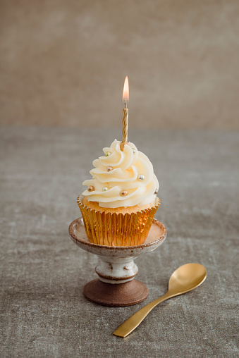 Rack「Festive decorated cup cake with lighted candle」:スマホ壁紙(7)