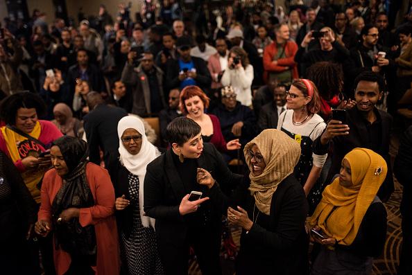 Stephen Maturen「Minnesota Congressional Candidate Ilhan Omar Attends Election Night Event In Minneapolis」:写真・画像(1)[壁紙.com]