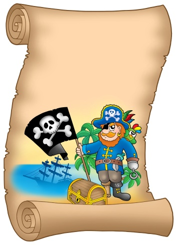 Belt「Parchment with pirate holding flag - color illustration.」:スマホ壁紙(5)