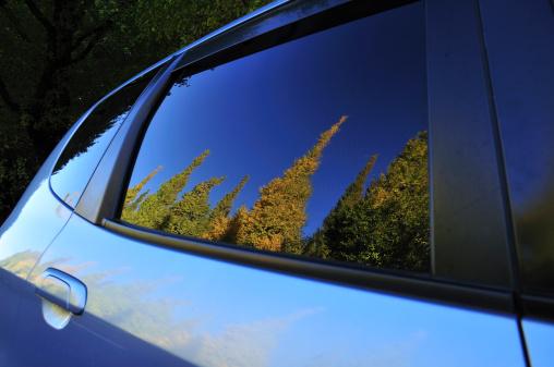 明治神宮外苑「Trees Reflected in Car Window」:スマホ壁紙(2)