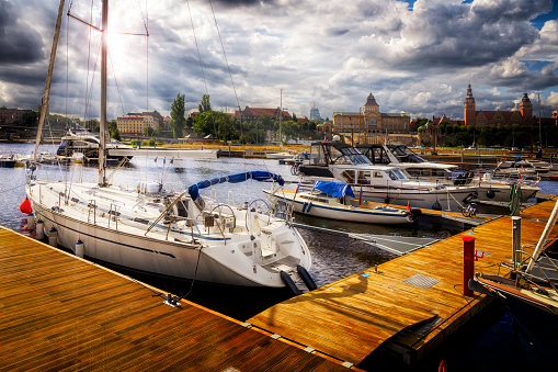 West Pomeranian Voivodeship「Home city marina with sea yachts and view of the Szczecin old town, Poland」:スマホ壁紙(14)