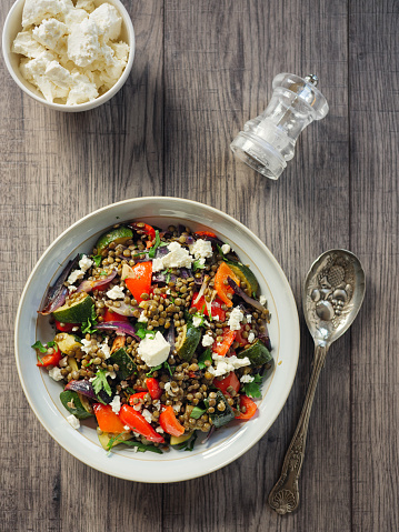 Salad「Lentil and roasted vegetable salad with feta cheese」:スマホ壁紙(3)