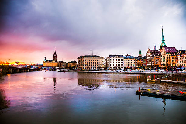 Stockholm, Sweden. Panorama of the old town and church:スマホ壁紙(壁紙.com)