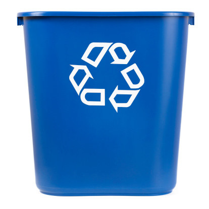Environmental Conservation「Isolated Blue Recycle Bin」:スマホ壁紙(1)