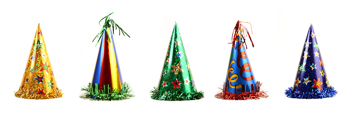 Cone Shape「Five colorful party hats on a white background」:スマホ壁紙(8)