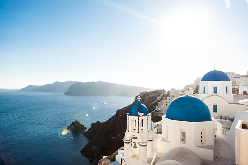 Spirituality「The Blue Church Domes of Oia, Santorini」:スマホ壁紙(18)