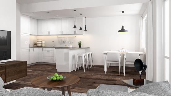 Kitchen Counter「Modern interior」:スマホ壁紙(1)