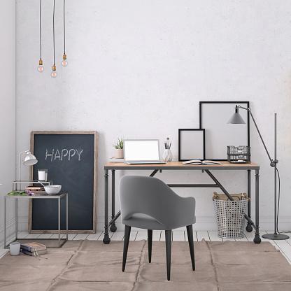 Concrete「Modern interior with office desk background template」:スマホ壁紙(8)