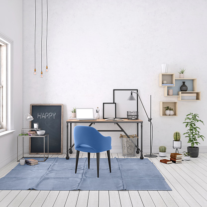 Finland「Modern interior with office desk background template」:スマホ壁紙(11)