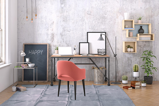 Template「Modern interior with office desk background template」:スマホ壁紙(18)