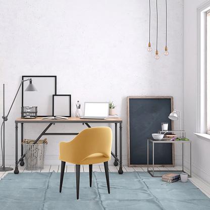 Frame - Border「Modern interior with office desk background template」:スマホ壁紙(16)