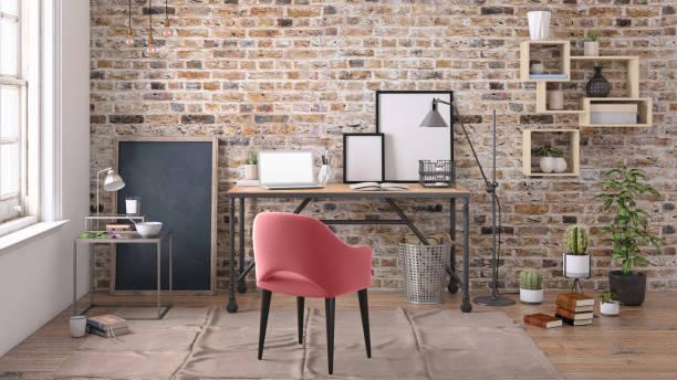 Modern interior with office desk background template:スマホ壁紙(壁紙.com)