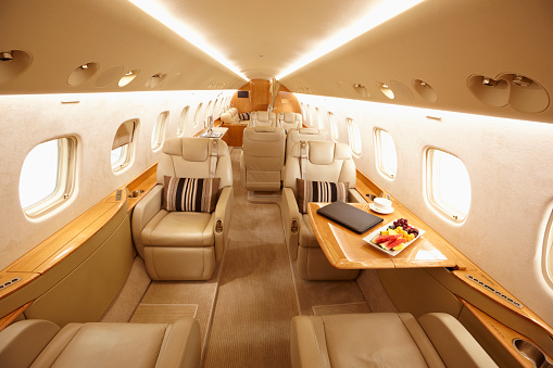 Commercial Airplane「Modern interior of private jet」:スマホ壁紙(10)