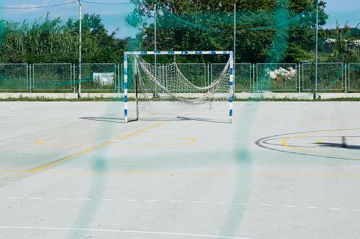 Focus On Background「Croatia, Nin, Soccer goal standing in empty schoolyard」:スマホ壁紙(14)