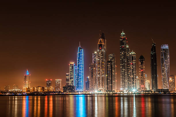 Wide Panoramic View of Dubai Marina Skyscrapers:スマホ壁紙(壁紙.com)