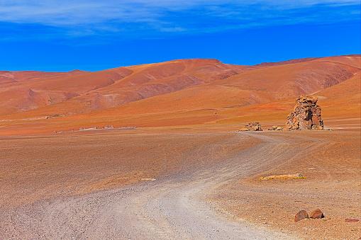 Andean Highlands「Dirt road - Country road mountain pass - Dramatic Salar de Tara and rock formations - Idyllic Atacama Desert, Volcanic landscape panorama – San Pedro de Atacama, Chile, Bolívia and Argentina border」:スマホ壁紙(16)
