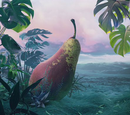 Timothy Grass「Giant surreal pear at nature background」:スマホ壁紙(17)