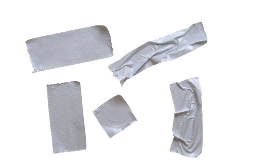 Silver Colored「Five pieces of duct tape on pure white background」:スマホ壁紙(9)