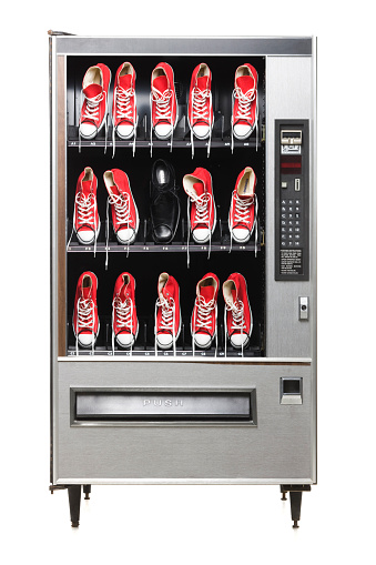 Shoe「red sneakers in a vending machine」:スマホ壁紙(6)