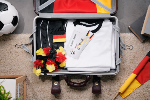 Soccer Uniform「Football shirt , tickets and fan articles packed in suit case, studio shot」:スマホ壁紙(11)