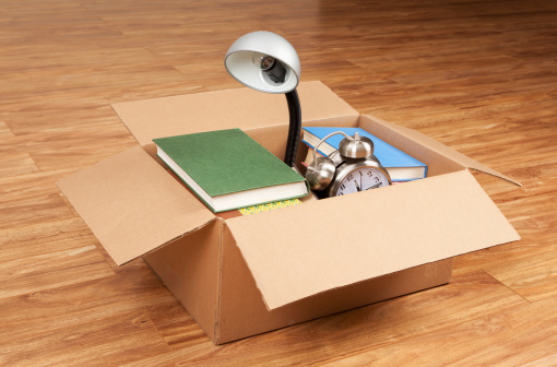 Desk Lamp「Books, Desk Lamp, and Alarm Clock in Cardboard Box」:スマホ壁紙(0)