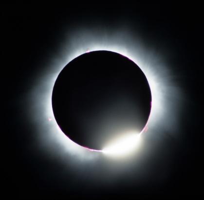 月面「日食ダイヤモンドの指輪」:スマホ壁紙(5)