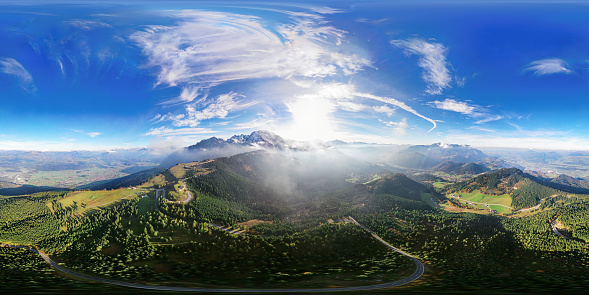 Steep「360x180 degree spherical (equirectangular) aerial panorama of Flight over Rossfeld mountain panoramic road, Berchtesgaden, Germany」:スマホ壁紙(1)