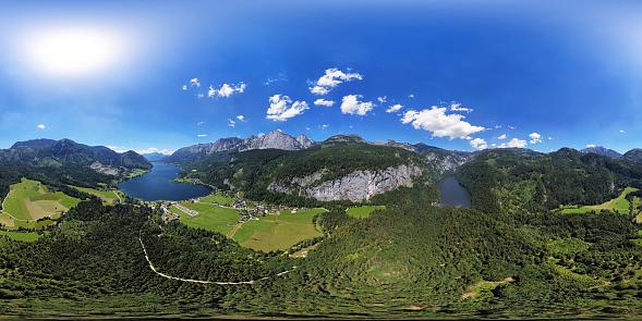 Salzkammergut「360x180 degree full spherical aerial panorama of Toplitzsee (Toplitz lake) and Grundlsee mountain lakes, in Salzkammergut, Styria, Austria.」:スマホ壁紙(13)