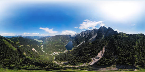 360x180 degree full spherical (equirectangular) aerial panorama of Gosaukamm and Dachstein massif, Gosau lake in Salzkammergut, Upper Austria:スマホ壁紙(壁紙.com)