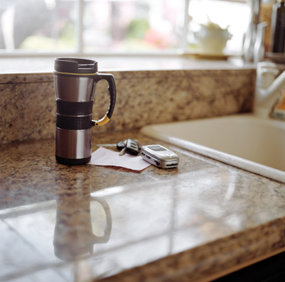 Kitchen Counter「Coffee mug, mobile phone and keys on kitchen counter」:スマホ壁紙(17)