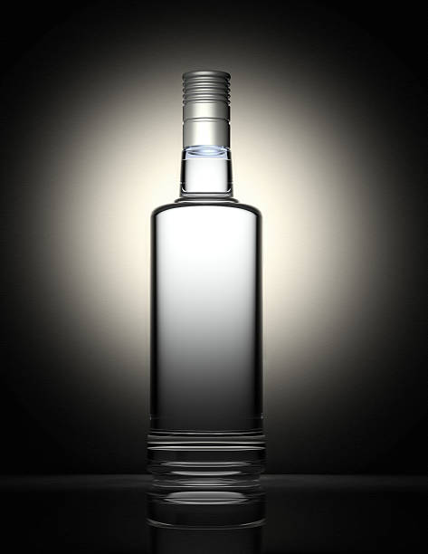 Clear vodka bottle isolated on black and gray background:スマホ壁紙(壁紙.com)