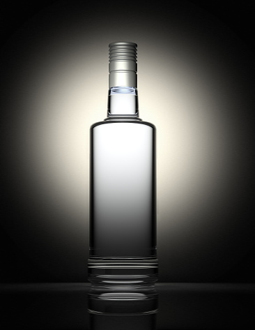 Wine Bottle「Clear vodka bottle isolated on black and gray background」:スマホ壁紙(16)