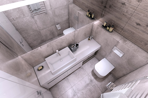 Wood Paneling「Small modern bathroom interior」:スマホ壁紙(10)