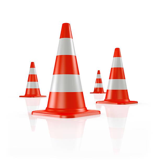 Four orange traffic cones:スマホ壁紙(壁紙.com)