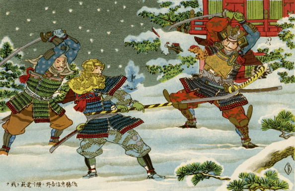 戦国武将「Three Samurai fighting outside Yoshino, Japan」:写真・画像(10)[壁紙.com]