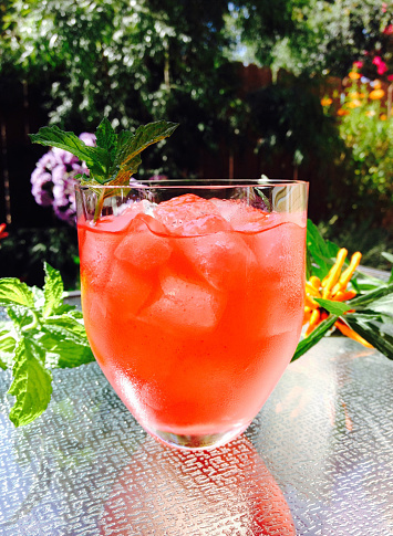 Whiskey「Rum punch cocktail with mint on a glass table outside in a tropical garden」:スマホ壁紙(4)