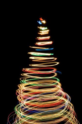 Spinning「Contemporary Christmas Tree of Vibrant Light Circles」:スマホ壁紙(6)