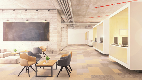 Open Plan「Contemporary office interior lobby with blackboard」:スマホ壁紙(15)